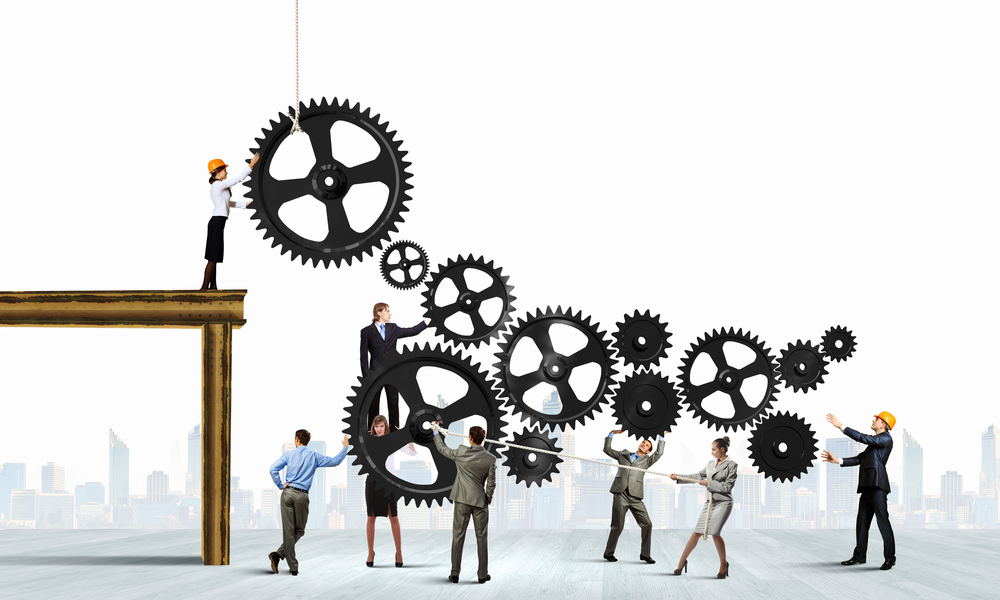 Conceptual-image-of-businessteam-working-cohesively.-Interaction-and-unity